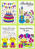 Birthday cards set Royalty Free Stock Images