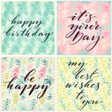 Birthday cards. Various birthday related phrases on floral square backdrops. Holiday design for cards, invitations and. Banners vector illustration