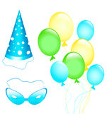 Birthday and carnival accessories Royalty Free Stock Images