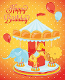 Birthday carousel with animals. A birthday, elephant, a horse, a lion on the carousel, red background with dots in retro style Royalty Free Stock Photo