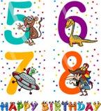 Birthday cartoon design for boy. Cartoon Illustration of the Happy Birthday Anniversary Designs for Boys Royalty Free Stock Photography