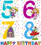 Birthday cartoon design for girl. Cartoon Illustration of the Happy Birthday Anniversary Designs for Girls Stock Photography