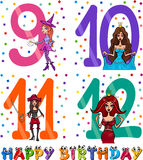 Birthday cartoon design for girl. Cartoon Illustration of the Happy Birthday Anniversary Designs for Girls Royalty Free Stock Image