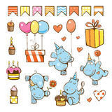 Birthday cartoon set. Cute hippopotamuses, gifts, cake, candle, balloon and candy. Vector illustration Royalty Free Stock Photography