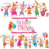Birthday cartoon set Stock Images