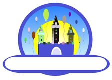 Birthday castle. Illustration representing a colorful castle with balloons. An idea for logos or for happy birthday greeting card stock illustration