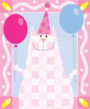 Birthday cat. A birthday cat is holding balloons stock illustration