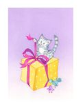 Birthday cat. A curious little cat opens a big gift and two colored birds look at it. It  an hand-made illustration Royalty Free Stock Photos