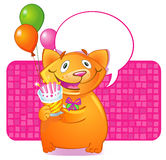 Birthday Cat. The speaking cat with gift and pie, can be used as the invitation or a congratulation happy birthday Royalty Free Stock Photography