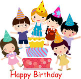 Birthday celebration. Illustration of cute boy and girl birthday celebration stock illustration