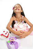 Birthday celebration. Little Asian beautiful girl celebrate her birthday royalty free stock photo
