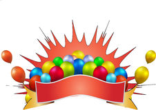 Birthday celebration. Banner balloon in white background Stock Images