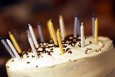 Birthday Celebration. Birthday cake with fresh candles Royalty Free Stock Photography