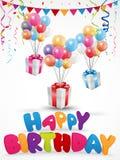Birthday celebration background with gift box and confetti. Illustration of Birthday celebration background with gift box and confetti Stock Photo