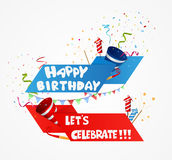 Birthday celebration background with ribbon and confetti Royalty Free Stock Images