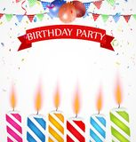 Birthday celebration with balloons and candle Stock Photography