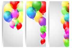 Birthday celebration banner with colorful balloons Stock Photo