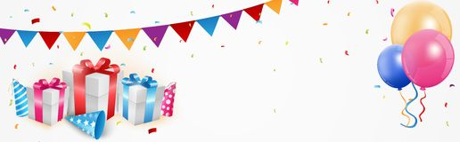 Birthday celebration banner. Illustration of Birthday celebration banner with balloon and gift box Stock Photos