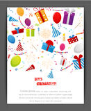 Birthday celebration banner with party elements Royalty Free Stock Image