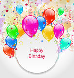 Birthday Celebration Card with Colorful Balloons Royalty Free Stock Images
