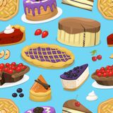 Birthday celebration cream cake pie vector illustration holidays food seamless pattern background Royalty Free Stock Photography