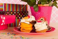 Birthday celebration with fancy cakes Stock Photo
