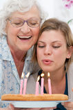 Birthday celebration with grandma Royalty Free Stock Images