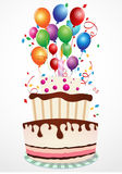 Birthday Celebration. Illustration Of Birthday cake with balloon and ribbon vector illustration
