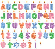 Birthday and Celebration Lit Candles. 3D appearance birthday or celebration lit candles. Includes complete alphabet letters, numbers, flower, heart, question Royalty Free Stock Photo