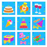 Birthday,celebration and party icons Royalty Free Stock Image