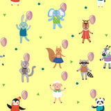 Birthday Celebration Seamless Pattern with Cute Animals Royalty Free Stock Photography
