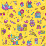 Birthday Celebration Seamless Pattern Stock Photos