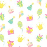 Birthday celebration seamless vector pattern. royalty free stock image