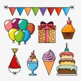 Birthday celebration set icons Stock Images