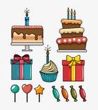 Birthday celebration set icons Stock Photography