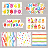 Birthday celebration set. Numbers and patterns. Stock Photos