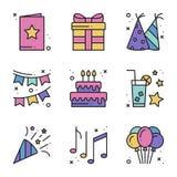 Birthday celebration thin line icons set. Party, holidays. Basic birthday elements. Vector simple linear design Vector Illustration