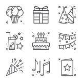 Birthday celebration thin line icons set. Party, holidays. Basic birthday elements. Vector simple linear design Stock Illustration