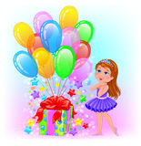 Birthday cheerful girl with gift and lot balls Royalty Free Stock Image