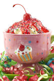 Birthday Cherry Ice Cream Sundae Stock Photos