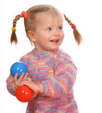 Birthday of  child with  ball. Royalty Free Stock Photography