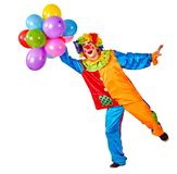 Birthday child clown with balloons bunch on isolated.