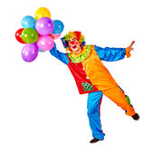 Birthday child clown with balloons bunch on isolated. Stock Images