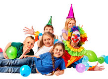 Birthday child clown playing with children. Stock Images