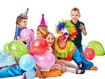 Birthday child clown playing with children. Kid holiday cakes celebratory. Birthday child clown playing with children and bunny fingers prank. Kid holiday cakes stock photos