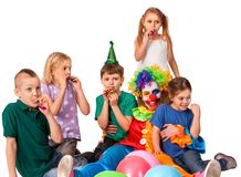 Birthday child clown playing with children. Kid holiday cakes celebratory. Birthday child clown playing with children. Kid holiday cakes celebratory and stock photography