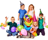 Birthday child clown playing with children. Kid holiday cakes celebratory. Birthday child clown playing with children and bunny fingers prank. Kid holiday cakes Royalty Free Stock Photo