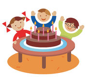 Birthday_ children_party. Children with a cake. Vector illustration Stock Images