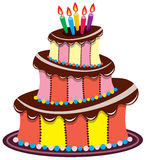 Birthday chocolate cake Stock Images