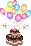 Birthday chocolate cake with balloon. An illustration of a two-tiered chocolate birthday cake with chocolate frosting, candles, cream rose flowers,  colorful Royalty Free Stock Images